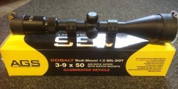 8d7a6219812 AGS Cobalt Redi-Mount 1 2 Mil-Dot 3-9 x 50 Air Rifle Scope with ...